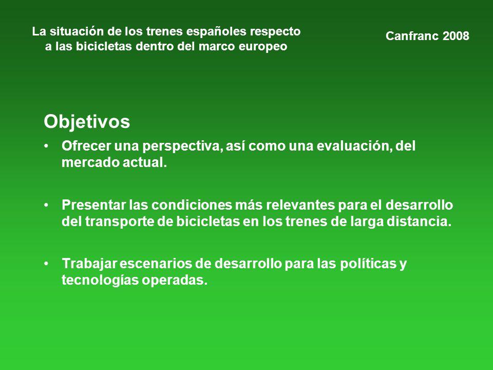 La situación de los trenes españoles respecto a las bicicletas dentro del marco europeo Objetivos Ofrecer una perspectiva, así como una evaluación, del mercado actual.