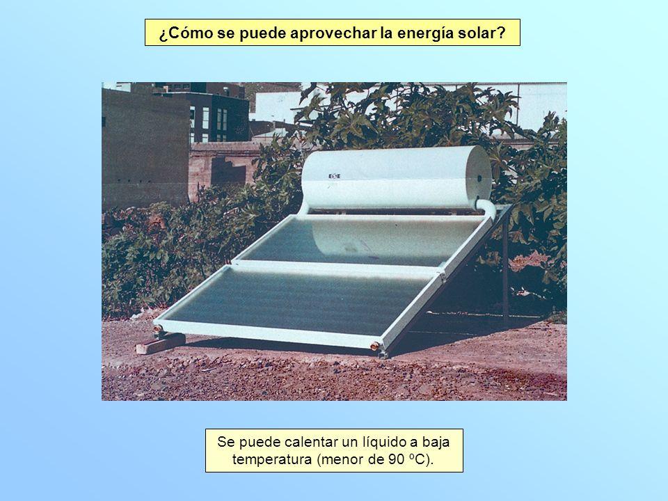 Se puede calentar un líquido a baja temperatura (menor de 90 ºC). ¿Cómo se puede aprovechar la energía solar?