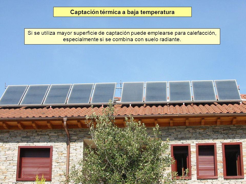 Captación térmica a baja temperatura Si se utiliza mayor superficie de captación puede emplearse para calefacción, especialmente si se combina con sue