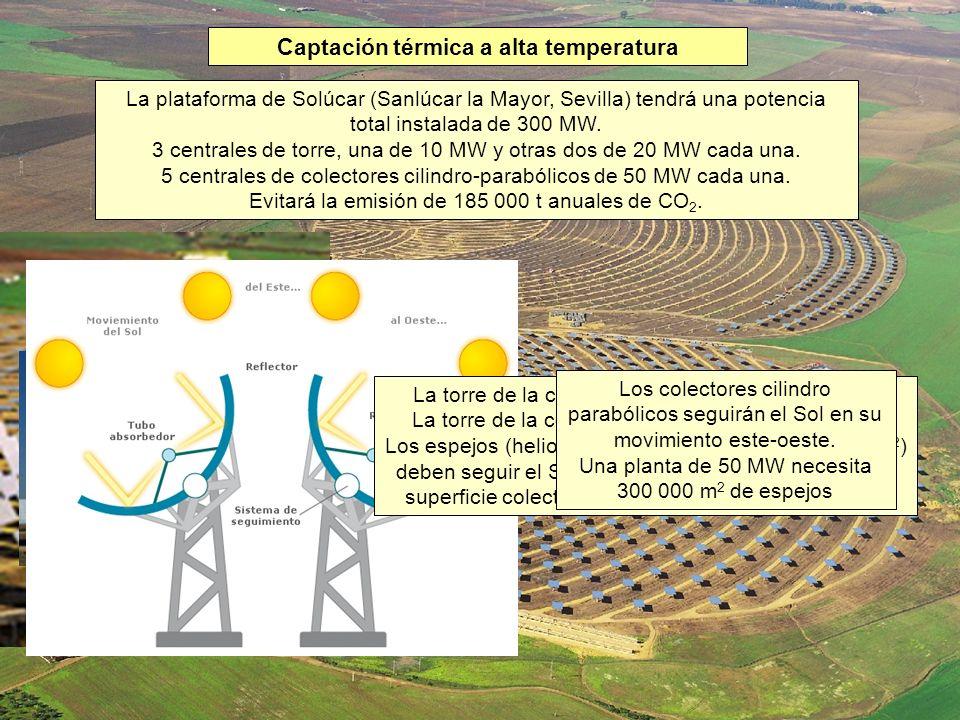 Captación térmica a alta temperatura La plataforma de Solúcar (Sanlúcar la Mayor, Sevilla) tendrá una potencia total instalada de 300 MW. 3 centrales