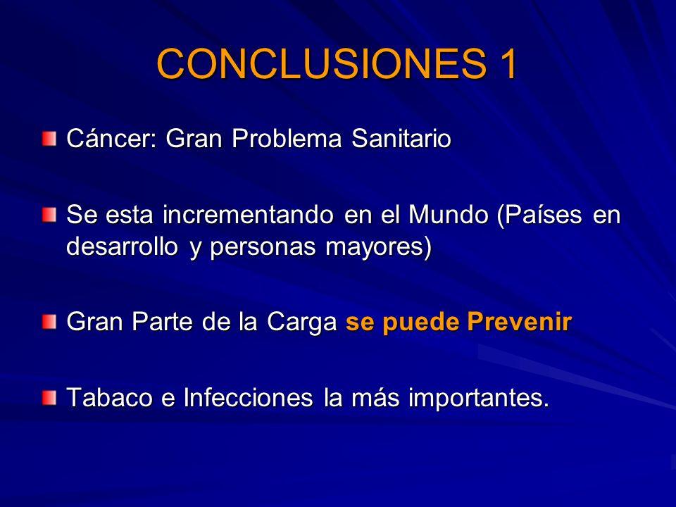 CONCLUSIONES 1 Cáncer: Gran Problema Sanitario Se esta incrementando en el Mundo (Países en desarrollo y personas mayores) Gran Parte de la Carga se p