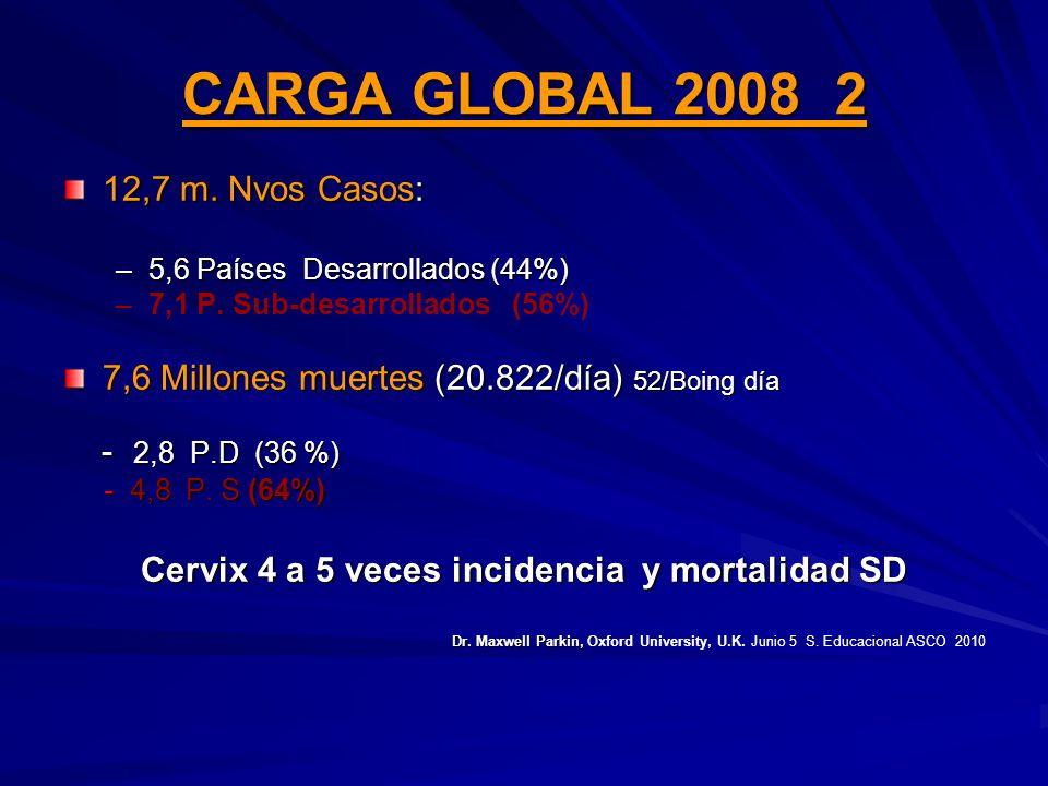CARGA GLOBAL 2008 2 12,7 m. Nvos Casos: –5,6 Países Desarrollados (44%) – –7,1 P. Sub-desarrollados (56%) 7,6 Millones muertes (20.822/día) 52/Boing d