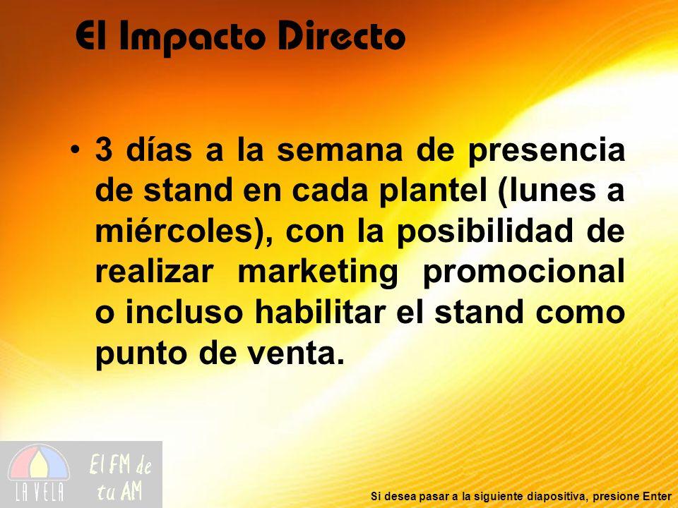 Si desea pasar a la siguiente diapositiva, presione Enter El Impacto Directo 3 días a la semana de presencia de stand en cada plantel (lunes a miércoles), con la posibilidad de realizar marketing promocional o incluso habilitar el stand como punto de venta.