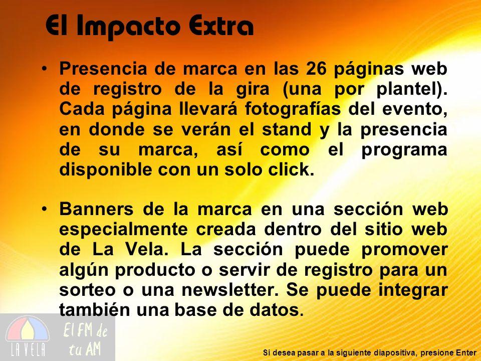Si desea pasar a la siguiente diapositiva, presione Enter El Impacto Extra Presencia de marca en las 26 páginas web de registro de la gira (una por plantel).