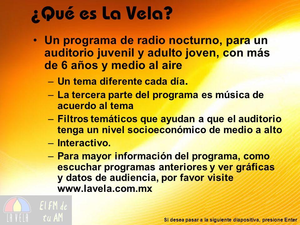 Si desea pasar a la siguiente diapositiva, presione Enter Un programa de radio nocturno, para un auditorio juvenil y adulto joven, con más de 6 años y
