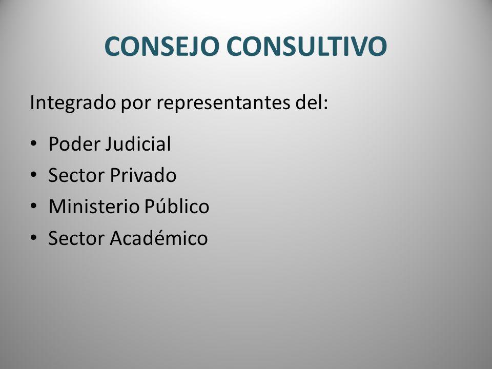 CONSEJO CONSULTIVO Integrado por representantes del: Poder Judicial Sector Privado Ministerio Público Sector Académico