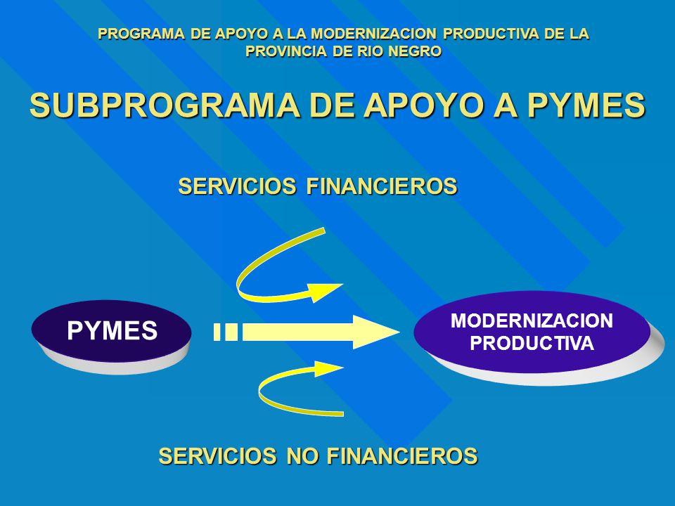 SUBPROGRAMA DE APOYO A PYMES PYMES MODERNIZACION PRODUCTIVA SERVICIOS NO FINANCIEROS SERVICIOS FINANCIEROS PROGRAMA DE APOYO A LA MODERNIZACION PRODUC