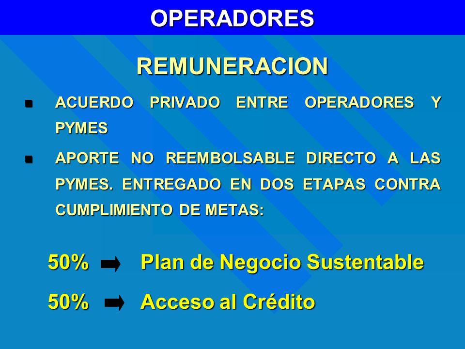 OPERADORESREMUNERACION ACUERDO PRIVADO ENTRE OPERADORES Y PYMES ACUERDO PRIVADO ENTRE OPERADORES Y PYMES APORTE NO REEMBOLSABLE DIRECTO A LAS PYMES. E