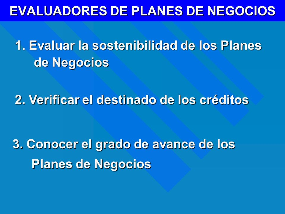 EVALUADORES DE PLANES DE NEGOCIOS 1. Evaluar la sostenibilidad de los Planes de Negocios 3. Conocer el grado de avance de los Planes de Negocios 2. Ve