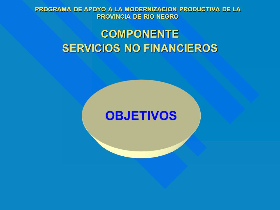 COMPONENTE SERVICIOS NO FINANCIEROS OBJETIVOS
