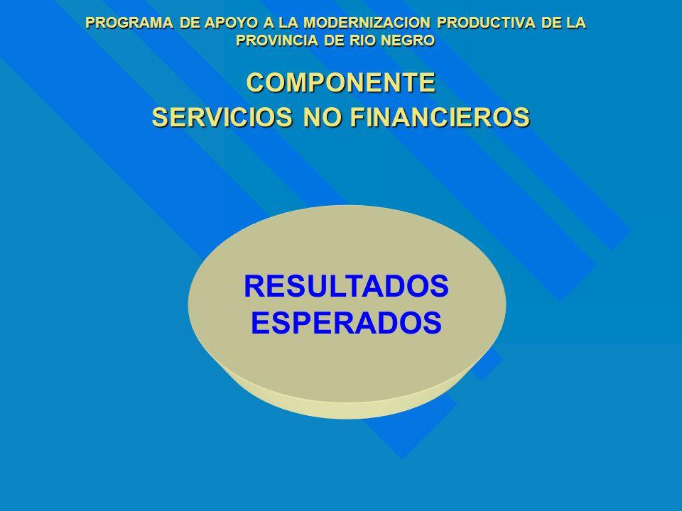 PROGRAMA DE APOYO A LA MODERNIZACION PRODUCTIVA DE LA PROVINCIA DE RIO NEGRO COMPONENTE SERVICIOS NO FINANCIEROS RESULTADOS ESPERADOS