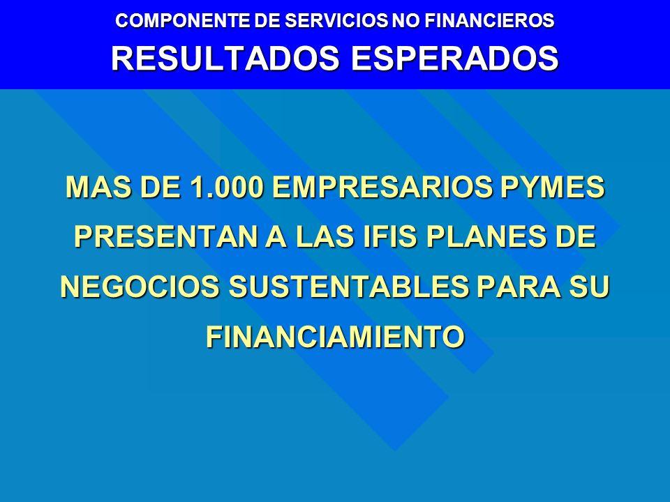 MAS DE 1.000 EMPRESARIOS PYMES PRESENTAN A LAS IFIS PLANES DE NEGOCIOS SUSTENTABLES PARA SU FINANCIAMIENTO COMPONENTE DE SERVICIOS NO FINANCIEROS RESU
