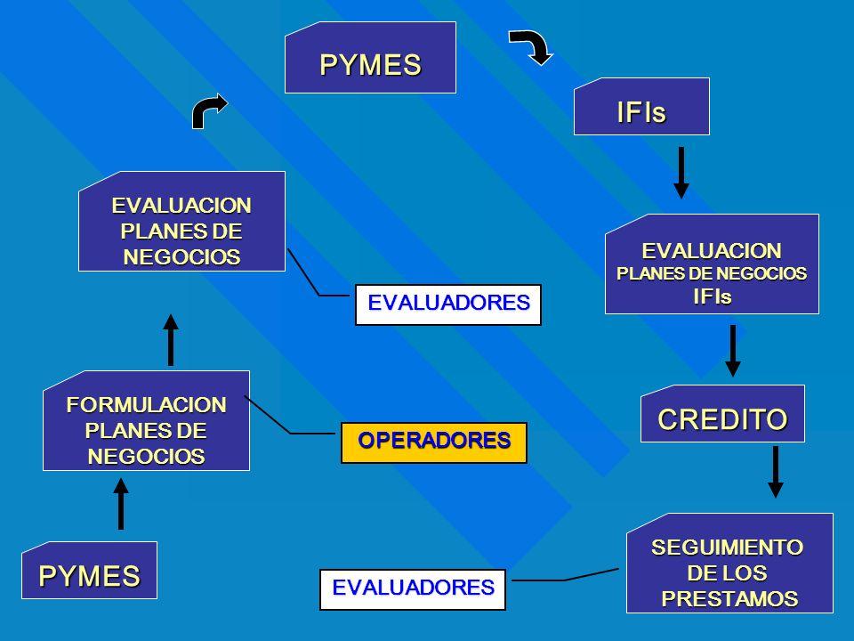PYMES FORMULACION PLANES DE NEGOCIOS EVALUACION NEGOCIOS IFIs EVALUACION PLANES DE NEGOCIOS IFIs CREDITO SEGUIMIENTO DE LOS PRESTAMOS PYMES EVALUADORE