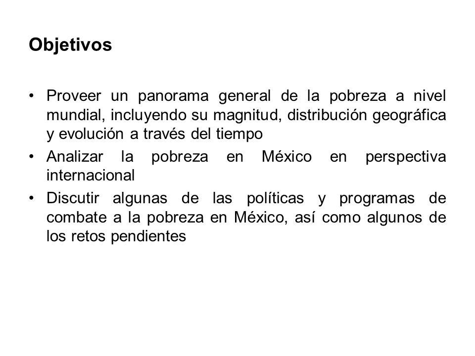 Objetivos Proveer un panorama general de la pobreza a nivel mundial, incluyendo su magnitud, distribución geográfica y evolución a través del tiempo Analizar la pobreza en México en perspectiva internacional Discutir algunas de las políticas y programas de combate a la pobreza en México, así como algunos de los retos pendientes