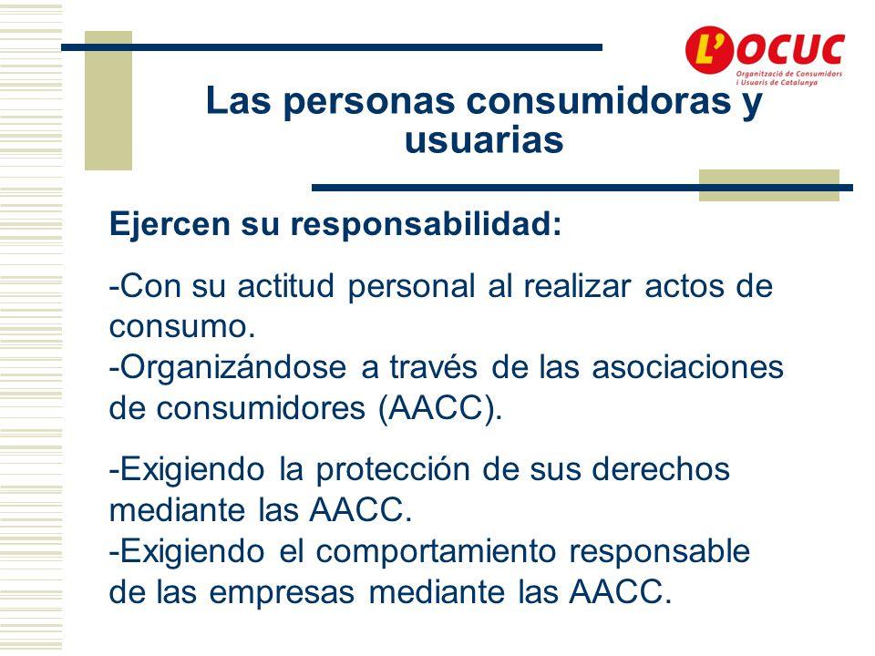 Las personas consumidoras y usuarias Ejercen su responsabilidad: -Con su actitud personal al realizar actos de consumo.