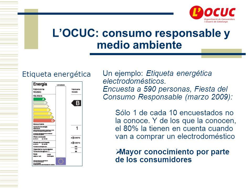 LOCUC: consumo responsable y medio ambiente Etiqueta energética Un ejemplo: Etiqueta energética electrodomésticos.
