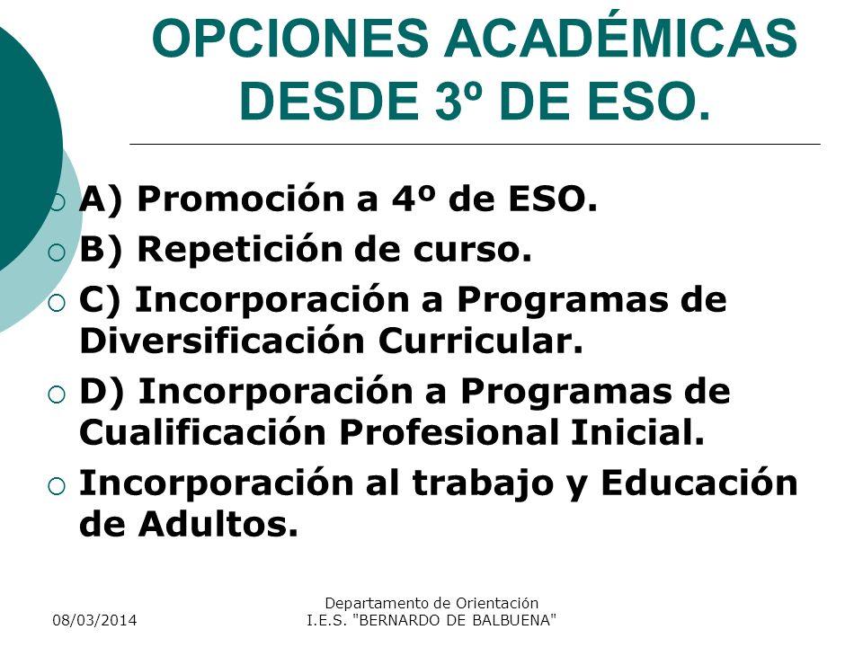 OPCIONES ACADÉMICAS DESDE 3º DE ESO. A) Promoción a 4º de ESO. B) Repetición de curso. C) Incorporación a Programas de Diversificación Curricular. D)