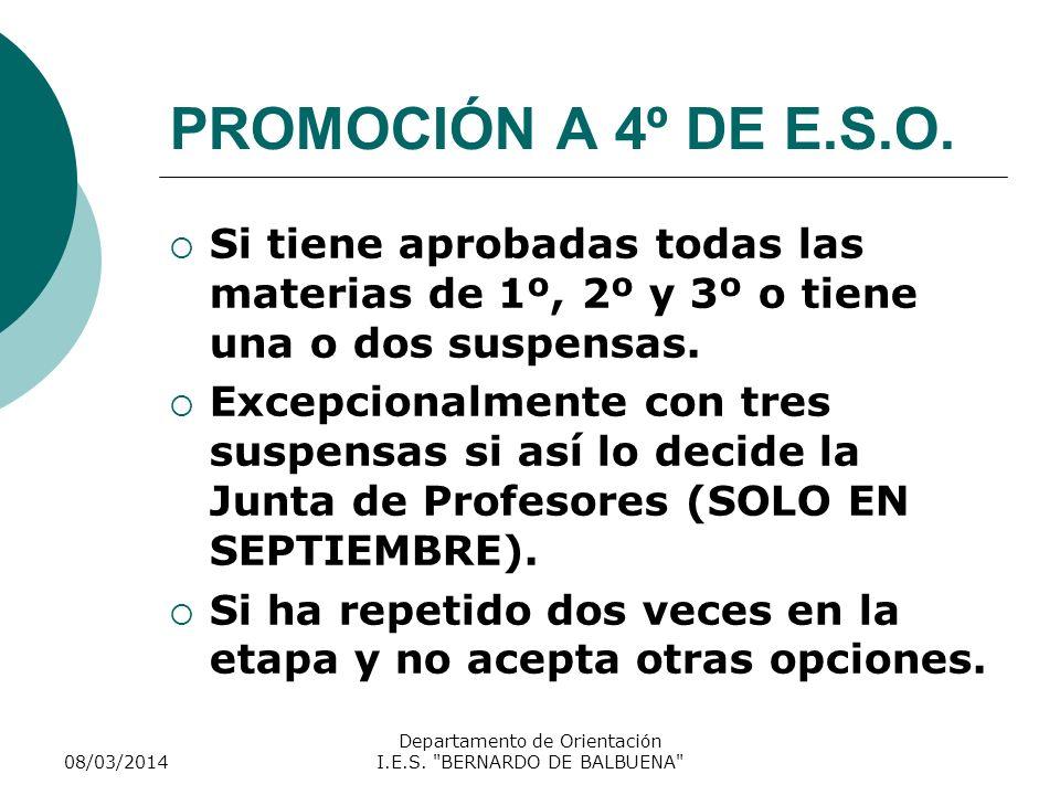 PROMOCIÓN A 4º DE E.S.O. Si tiene aprobadas todas las materias de 1º, 2º y 3º o tiene una o dos suspensas. Excepcionalmente con tres suspensas si así