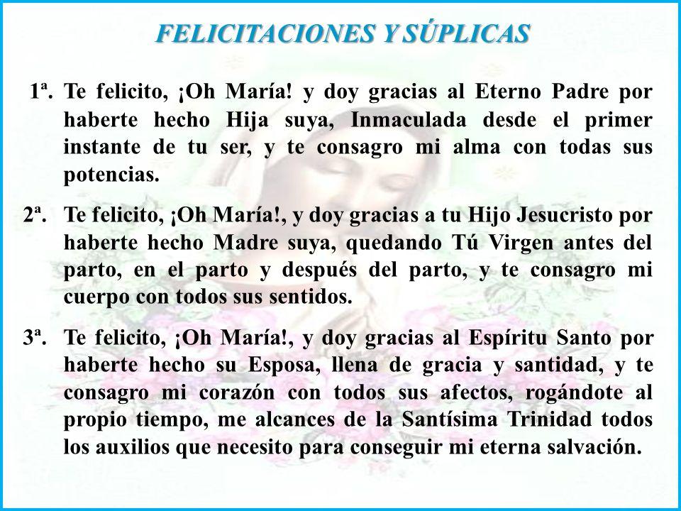 FELICITACIONES Y SÚPLICAS FELICITACIONES Y SÚPLICAS 1ª.Te felicito, ¡Oh María.