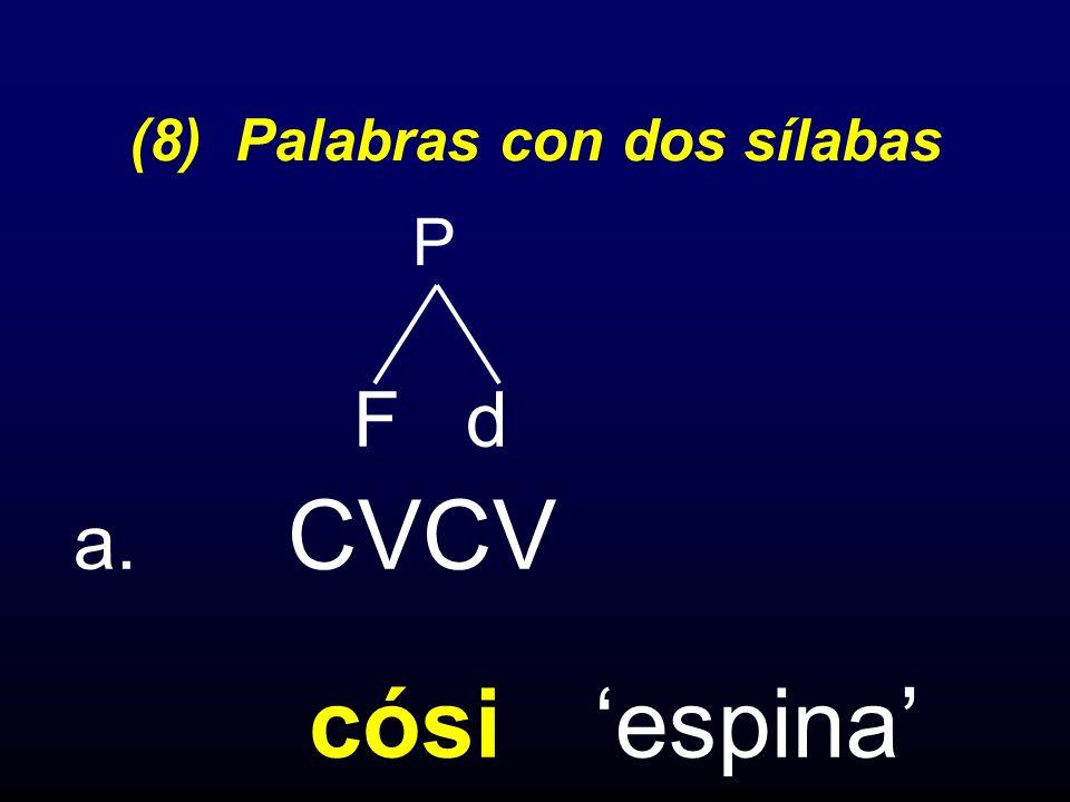 (8) Palabras con dos sílabas F d a. CVCV cósi espina P