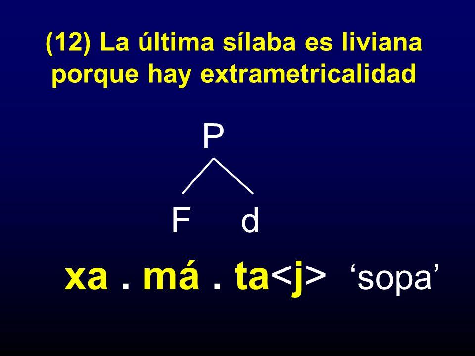 (12) La última sílaba es liviana porque hay extrametricalidad P F d xa. má. ta sopa