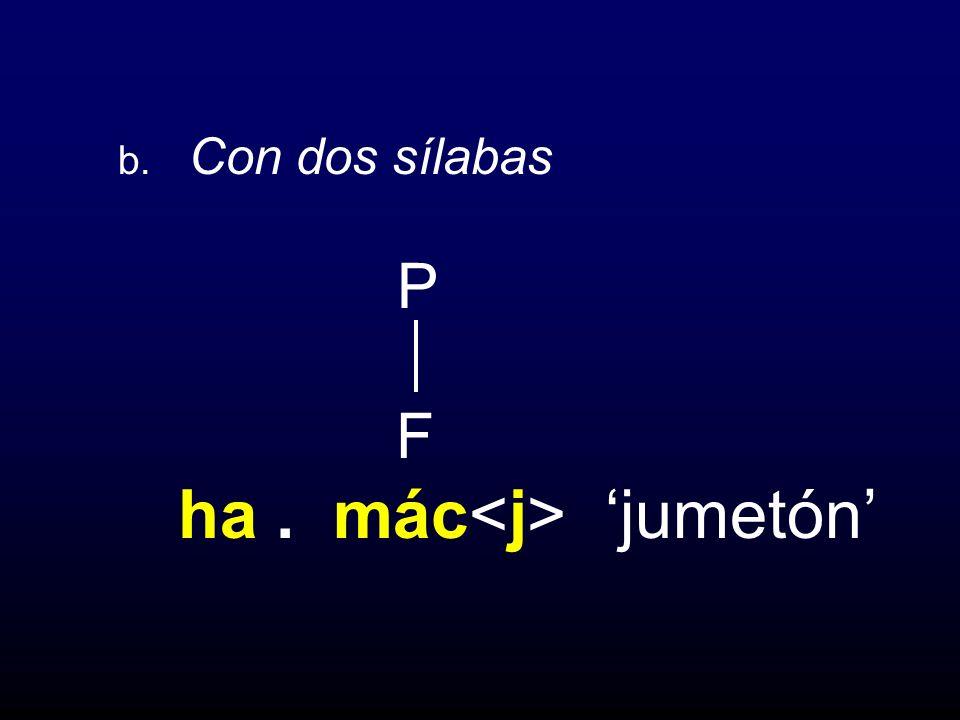 b. Con dos sílabas P F ha. mác jumetón