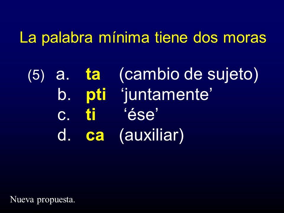 La palabra mínima tiene dos moras (5) a. ta (cambio de sujeto) b. pti juntamente c. ti ése d. ca (auxiliar) Nueva propuesta.