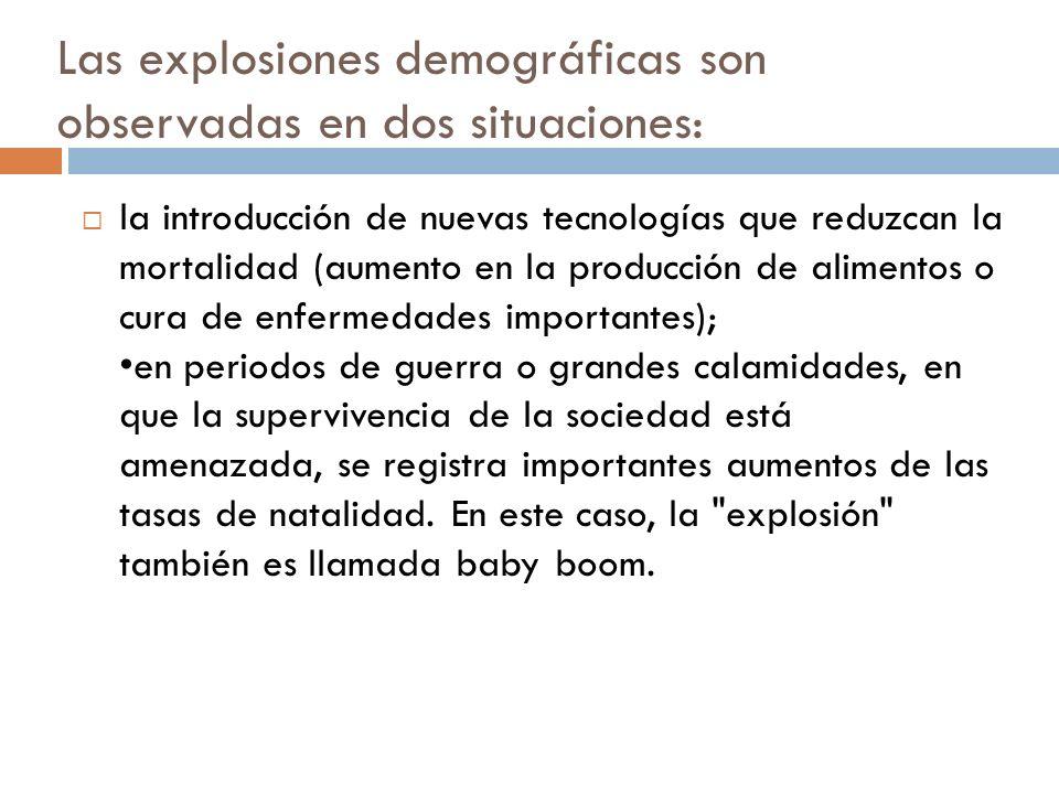 Las explosiones demográficas son observadas en dos situaciones: la introducción de nuevas tecnologías que reduzcan la mortalidad (aumento en la produc
