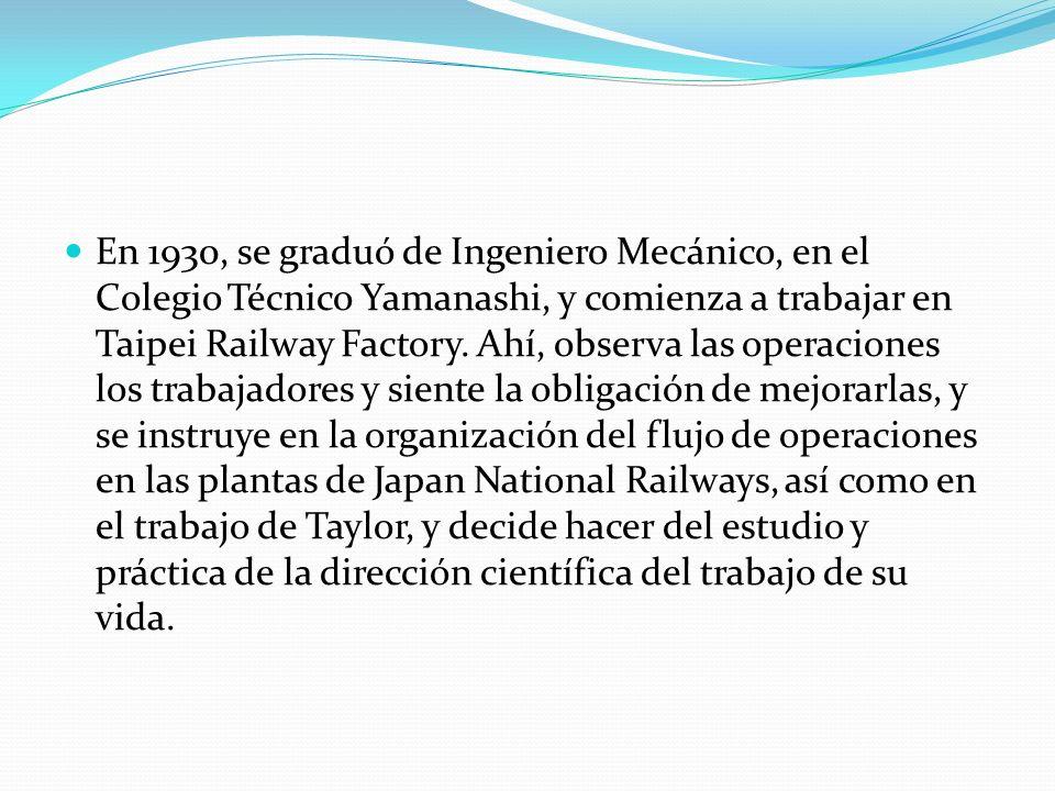 En 1930, se graduó de Ingeniero Mecánico, en el Colegio Técnico Yamanashi, y comienza a trabajar en Taipei Railway Factory. Ahí, observa las operacion