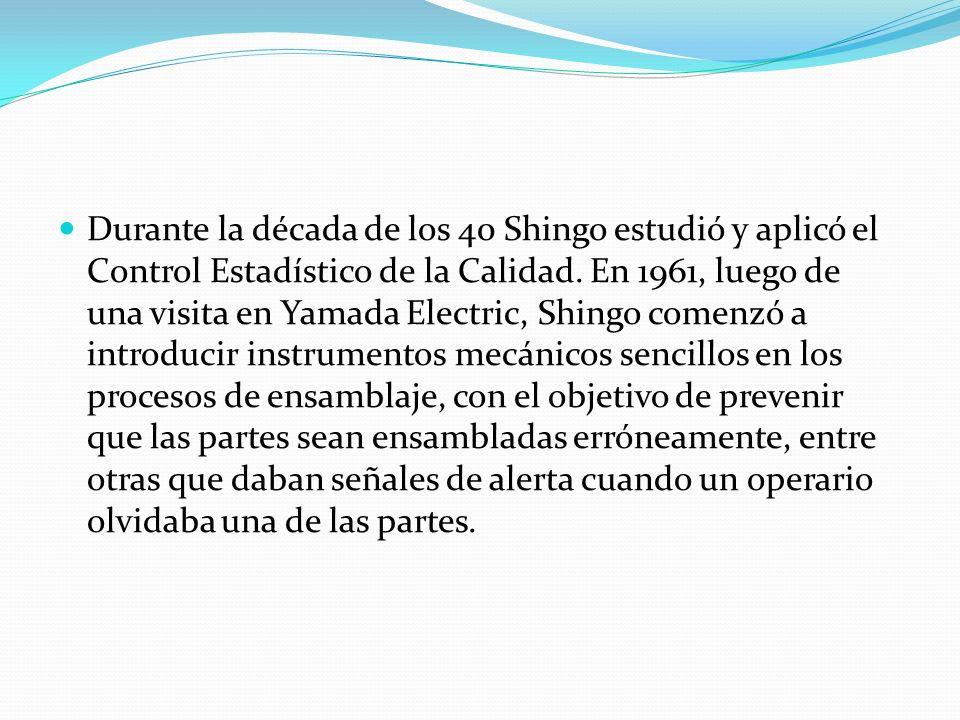 Durante la década de los 40 Shingo estudió y aplicó el Control Estadístico de la Calidad. En 1961, luego de una visita en Yamada Electric, Shingo come