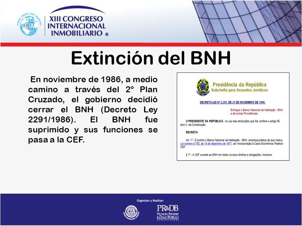 Extinción del BNH En noviembre de 1986, a medio camino a través del 2º Plan Cruzado, el gobierno decidió cerrar el BNH (Decreto Ley 2291/1986).