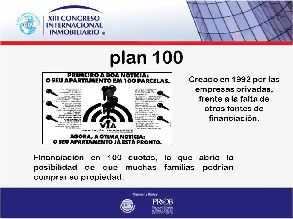 plan 100 Creado en 1992 por las empresas privadas, frente a la falta de otras fontes de financiación.