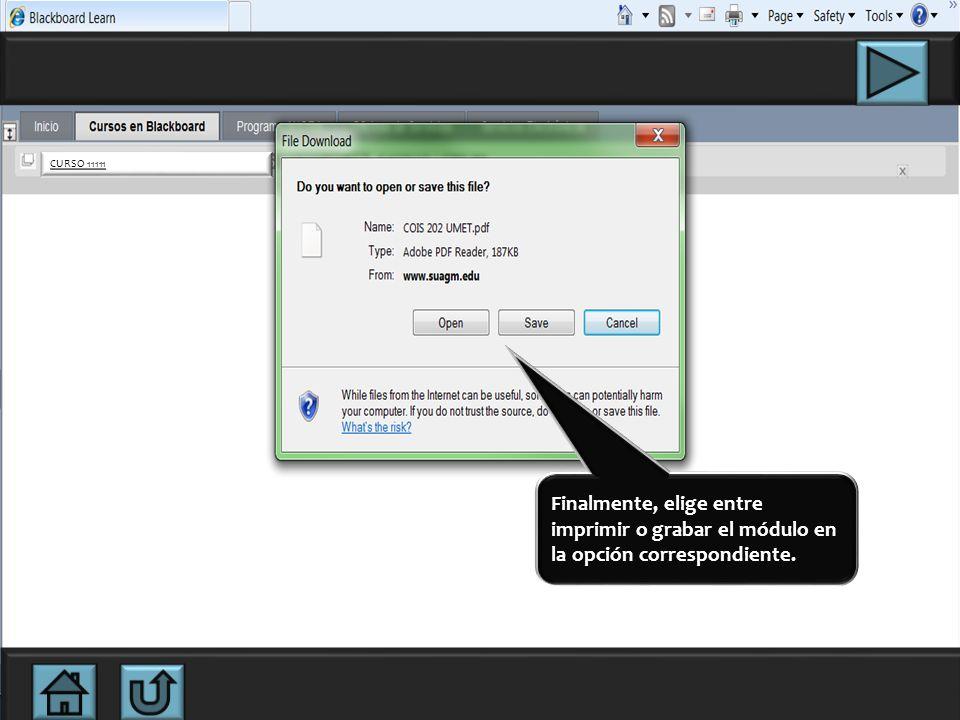 En la sección E-MODULE aparecerá el enlace al módulo. Si el módulo no está publicado, comunícate con la Diseñadora Instruccional del Programa AHORA al