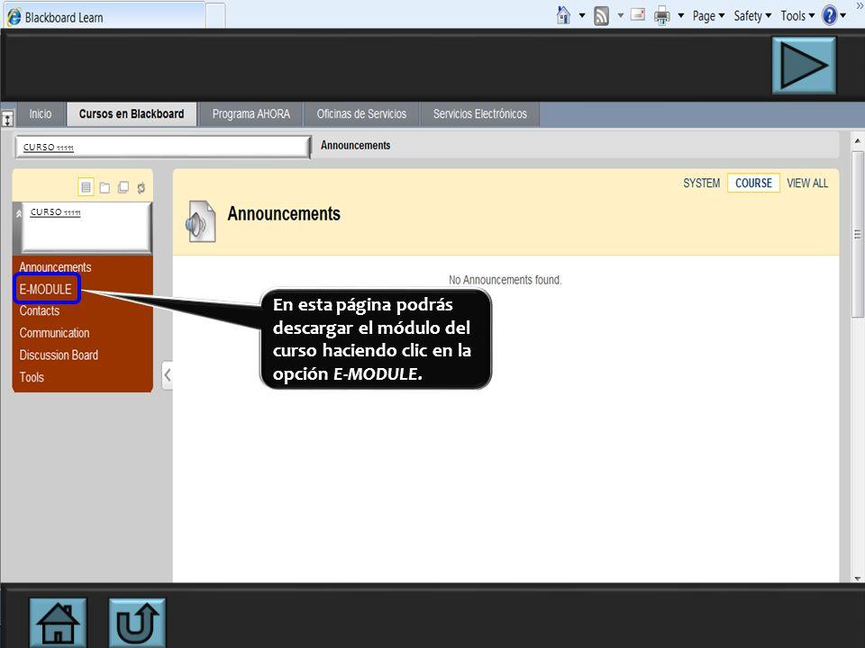 En esta página podrás descargar el módulo del curso haciendo clic en la opción E-MODULE.