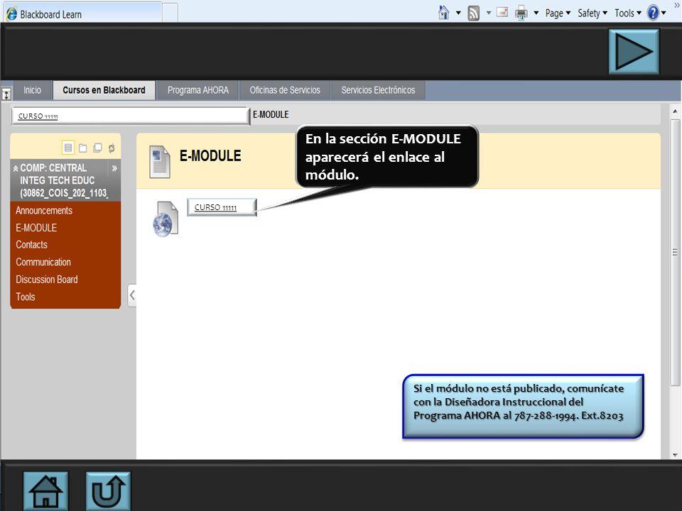 En esta página podrás descargar el módulo del curso haciendo clic en la opción E-MODULE. CURSO 11111