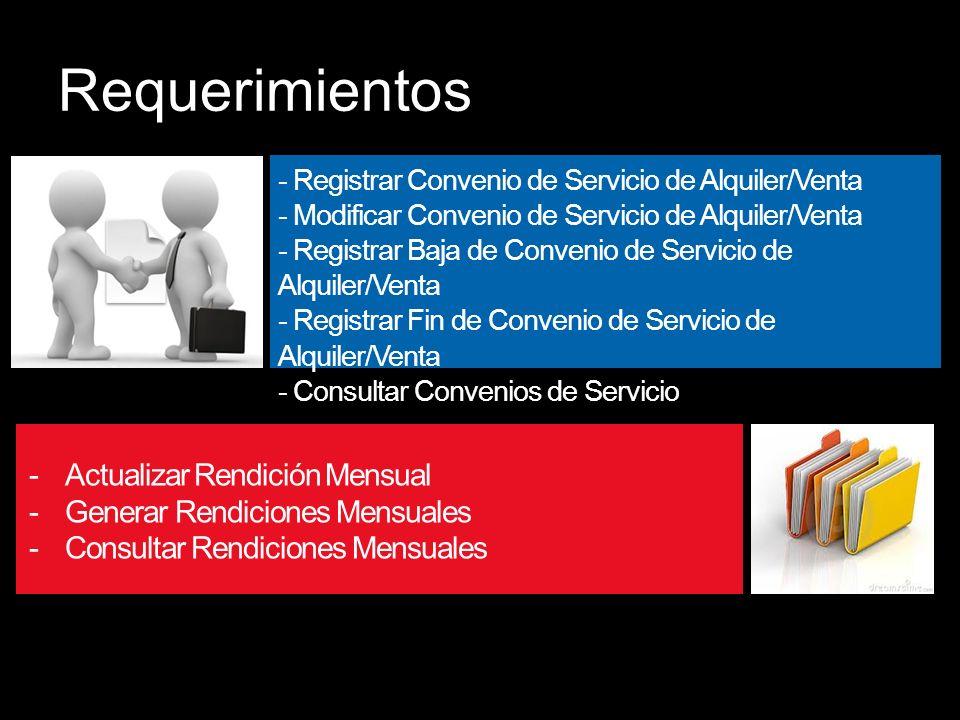 Requerimientos - Registrar Convenio de Servicio de Alquiler/Venta - Modificar Convenio de Servicio de Alquiler/Venta - Registrar Baja de Convenio de Servicio de Alquiler/Venta - Registrar Fin de Convenio de Servicio de Alquiler/Venta - Consultar Convenios de Servicio -Actualizar Rendición Mensual -Generar Rendiciones Mensuales -Consultar Rendiciones Mensuales