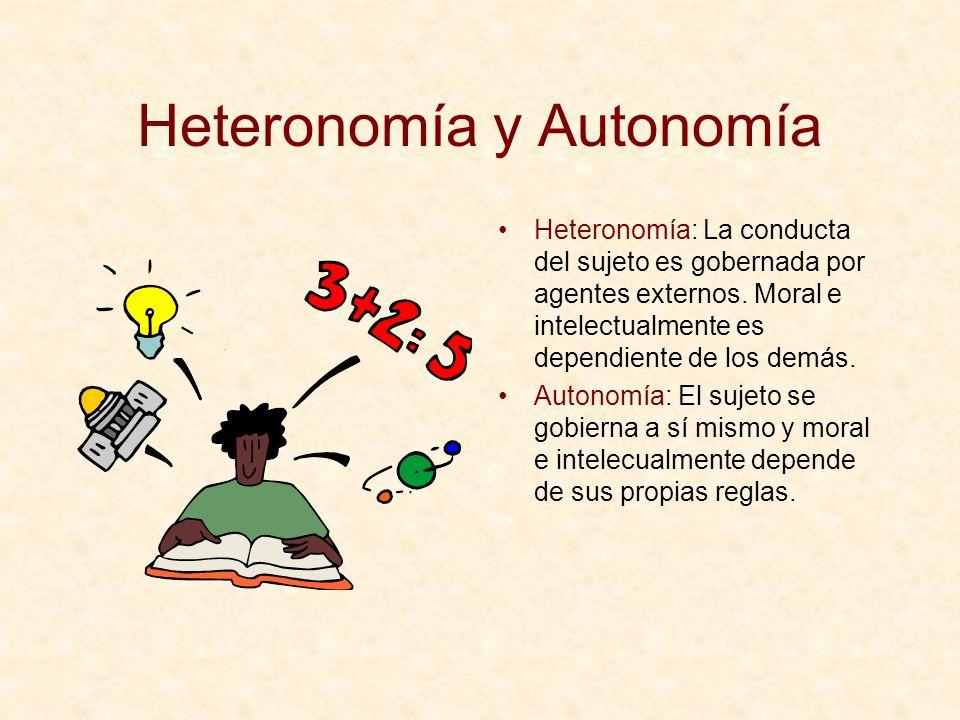 Heteronomía y Autonomía Heteronomía: La conducta del sujeto es gobernada por agentes externos. Moral e intelectualmente es dependiente de los demás. A
