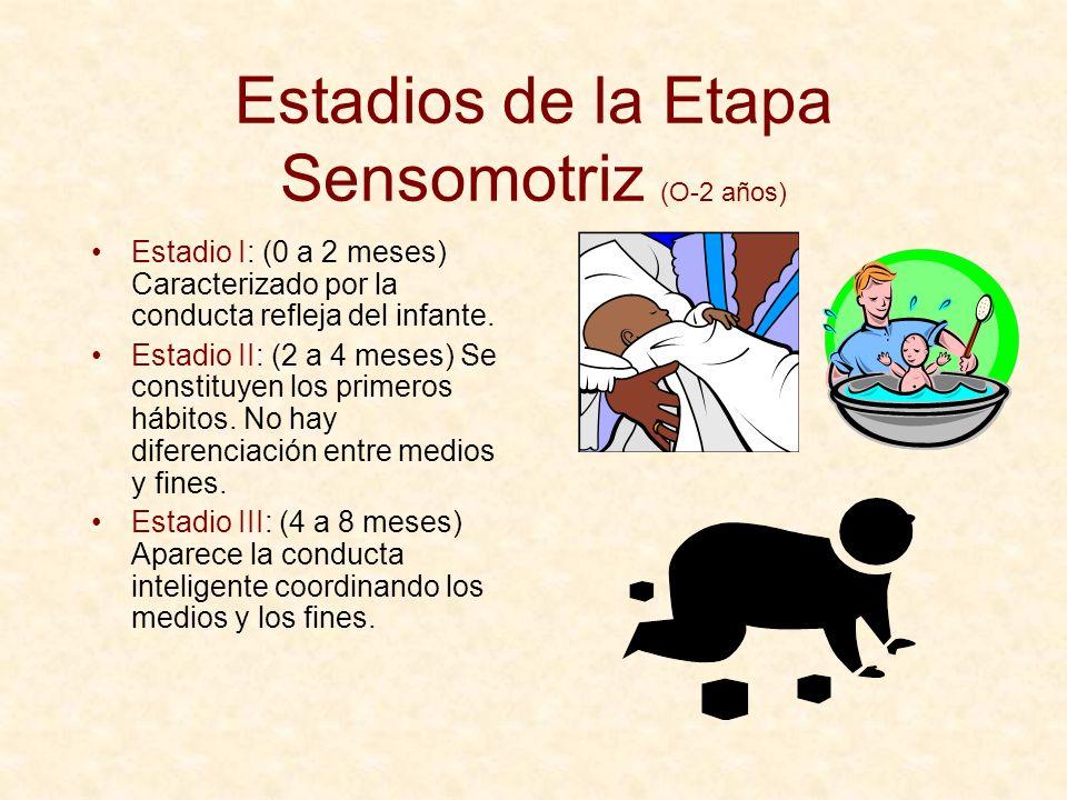 Estadios de la Etapa Sensomotriz (O-2 años) Estadio I: (0 a 2 meses) Caracterizado por la conducta refleja del infante. Estadio II: (2 a 4 meses) Se c