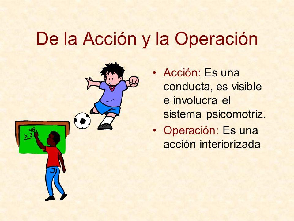 De la Acción y la Operación Acción: Es una conducta, es visible e involucra el sistema psicomotriz. Operación: Es una acción interiorizada