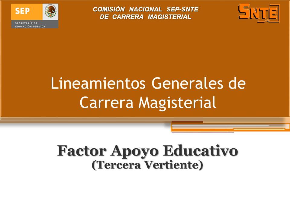 Lineamientos Generales de Carrera Magisterial Factor Apoyo Educativo (Tercera Vertiente) COMISIÓN NACIONAL SEP-SNTE DE CARRERA MAGISTERIAL