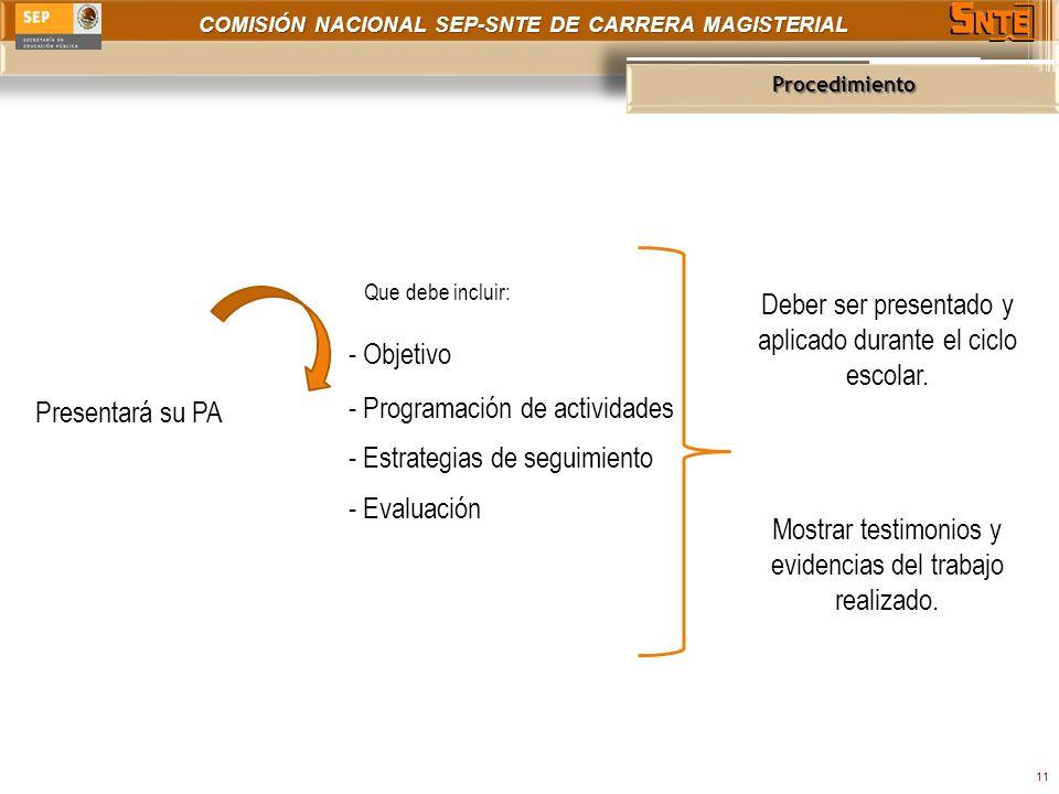 COMISIÓN NACIONAL SEP-SNTE DE CARRERA MAGISTERIAL Procedimiento 11 Presentará su PA Que debe incluir: Mostrar testimonios y evidencias del trabajo realizado.