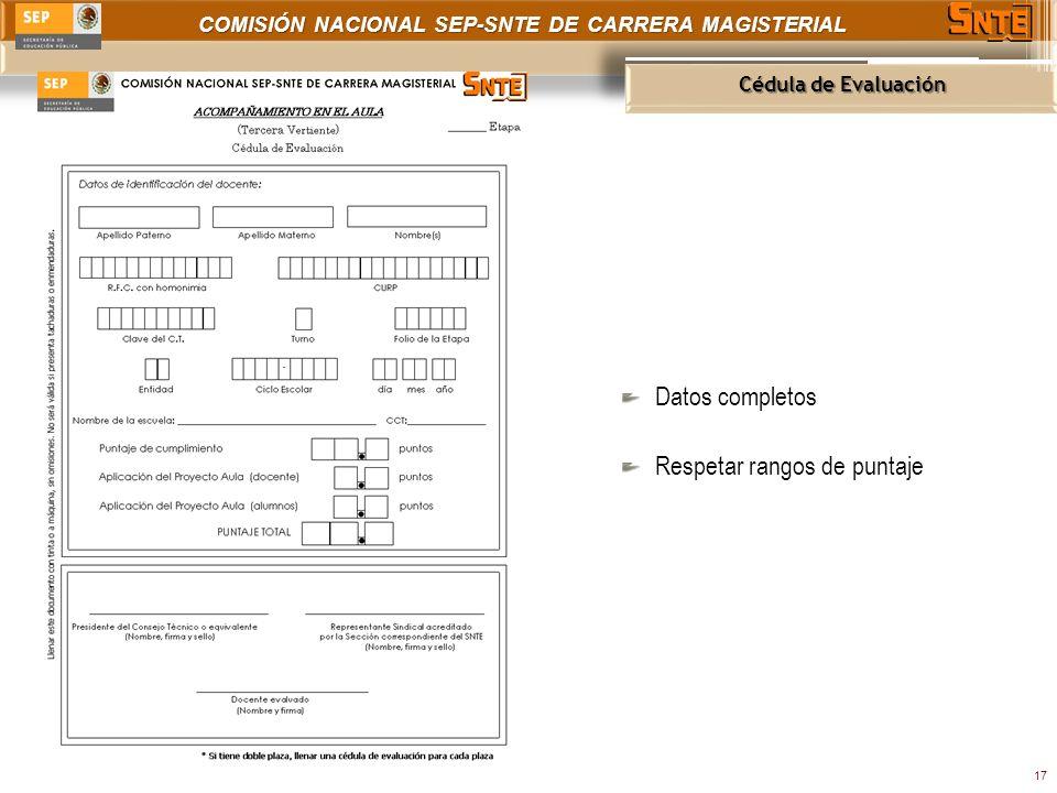 COMISIÓN NACIONAL SEP-SNTE DE CARRERA MAGISTERIAL Cédula de Evaluación 17 Datos completos Respetar rangos de puntaje