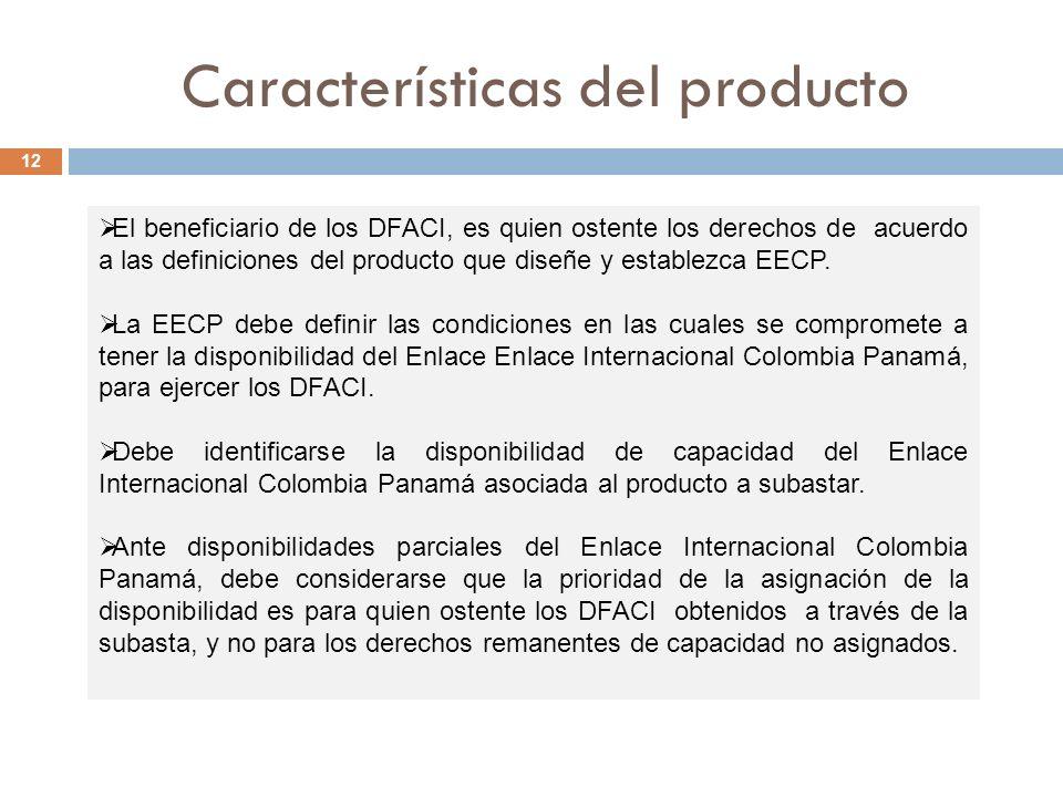 Características del producto 12 El beneficiario de los DFACI, es quien ostente los derechos de acuerdo a las definiciones del producto que diseñe y establezca EECP.