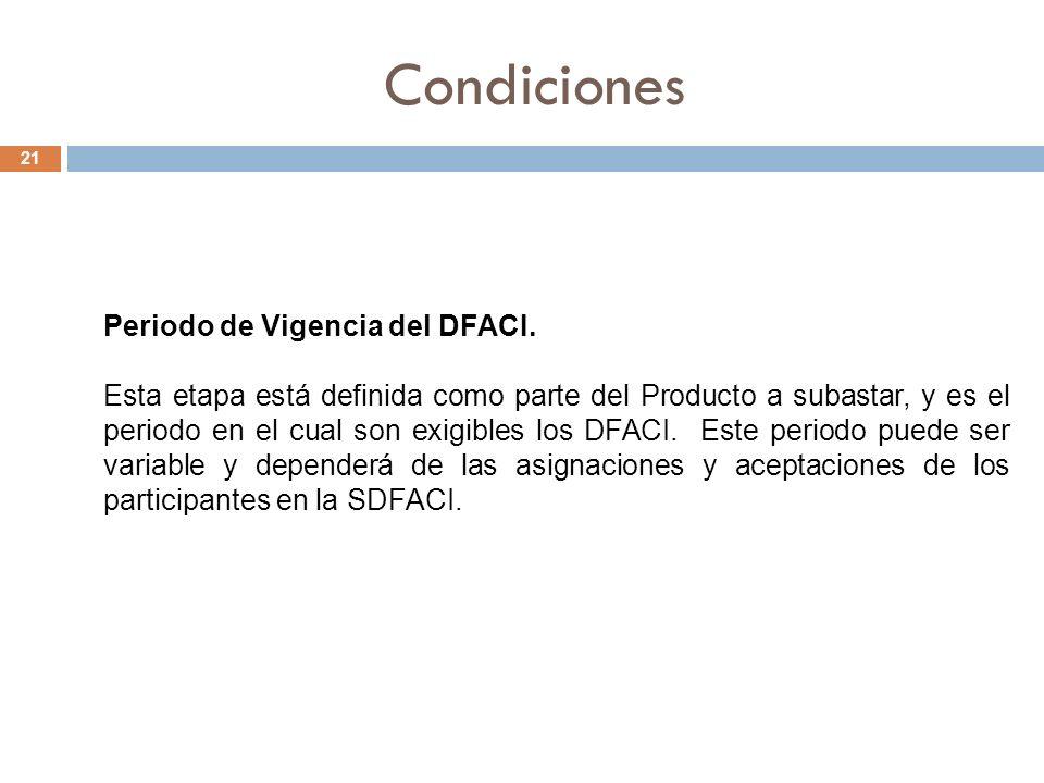Condiciones 21 Periodo de Vigencia del DFACI.