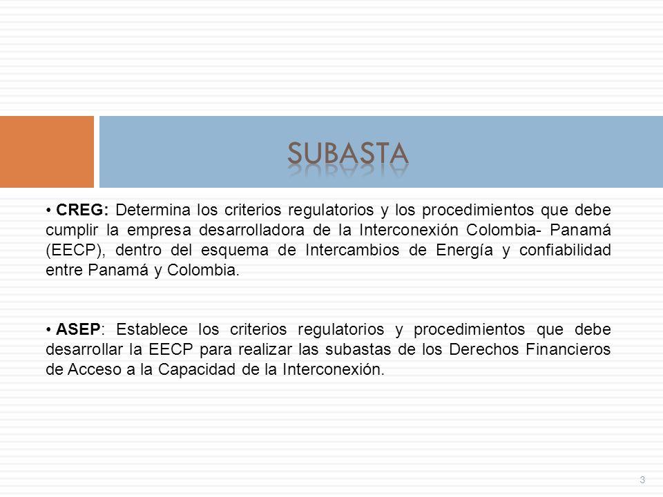 3 CREG: Determina los criterios regulatorios y los procedimientos que debe cumplir la empresa desarrolladora de la Interconexión Colombia- Panamá (EECP), dentro del esquema de Intercambios de Energía y confiabilidad entre Panamá y Colombia.