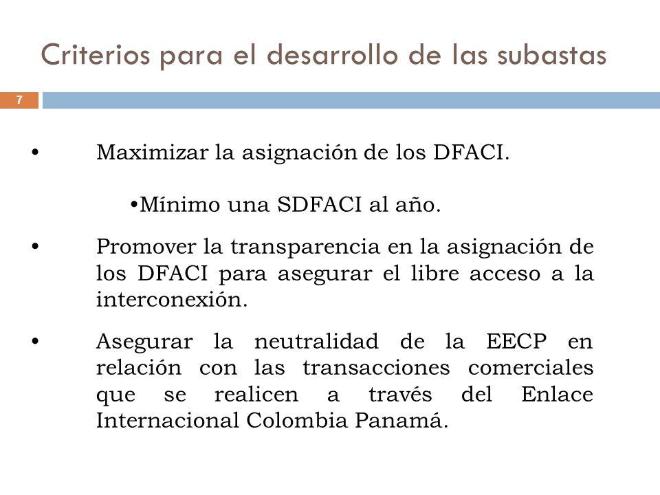 Disponibilidad 18 Para valorar la disponibilidad asociada a los DFACI se debe tener en cuenta en el diseño de la SDFACI lo siguiente: Se deben incluir las consecuencias económicas de incumplimiento de la disponibilidad de la capacidad asignada en la SDFACI.