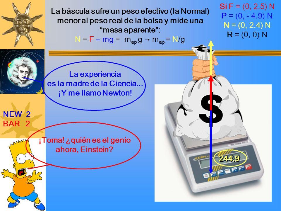 NEW 2 BAR 2 ¡Toma! ¿quién es el genio ahora, Einstein? La experiencia es la madre de la Ciencia... ¡Y me llamo Newton! 244.9 La báscula sufre un peso