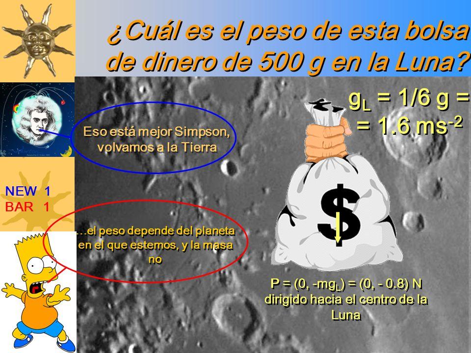 ¿Cuál es el peso de esta bolsa de dinero de 500 g en la Luna? NEW 1 BAR 1...el peso depende del planeta en el que estemos, y la masa no Eso está mejor