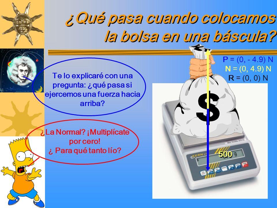 ¿Qué pasa cuando colocamos la bolsa en una báscula? ¿La Normal? ¡Multiplícate por cero! ¿ Para qué tanto lío? 500 P = (0, - 4.9) N N = (0, 4.9) N R =