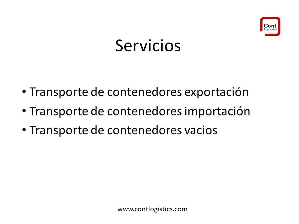 Servicios Transporte de contenedores exportación Transporte de contenedores importación Transporte de contenedores vacios www.contlogistics.com